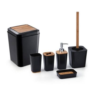 6pc Plastic/Bamboo Bathroom Set Black - KRALIX