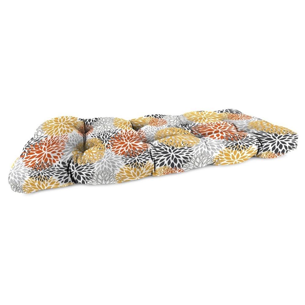Outdoor Wicker Sette Cushion In Blooms Citrus - Jordan Manufacturing, Multi-Colored