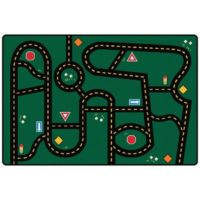 4'x6' Rectangle Woven Car Area Rug Green - Carpets For Kids