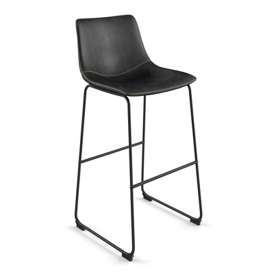 Set of 2 Petra Upholstered Barstool with Black Frame - Aeon