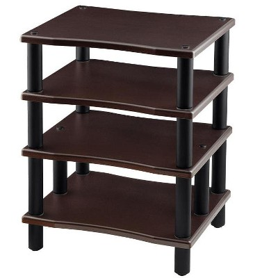 Monolith 4 Tier Audio Stand XL - Espresso, Open Air Design, Each Shelf Supports Up to 75 lbs., Perfect Way to Organize AV Components