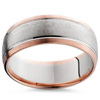 Pompeii3 8MM 14K Rose & White Gold Two Tone Mens Wedding Band
