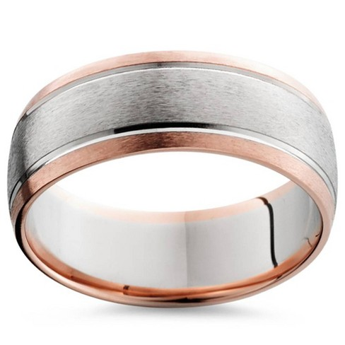 Pompeii3 8MM 14K Rose & White Gold Two Tone Mens Wedding Band - image 1 of 2