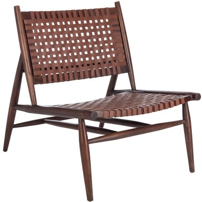 Soleil Leather Woven Accent Chair  - Safavieh
