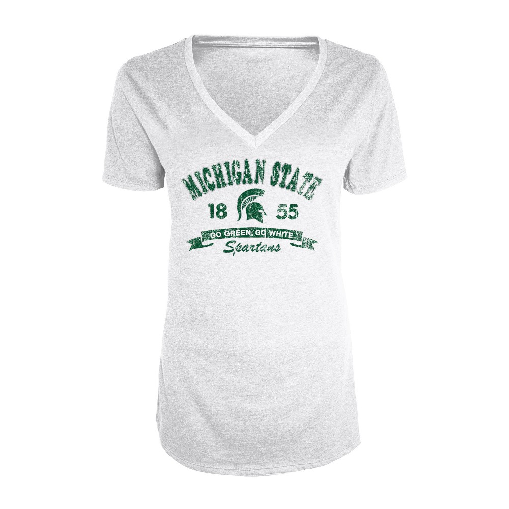 Michigan State Spartans Women's Short Sleeve Heathered V-Neck T-Shirt - XL, Multicolored