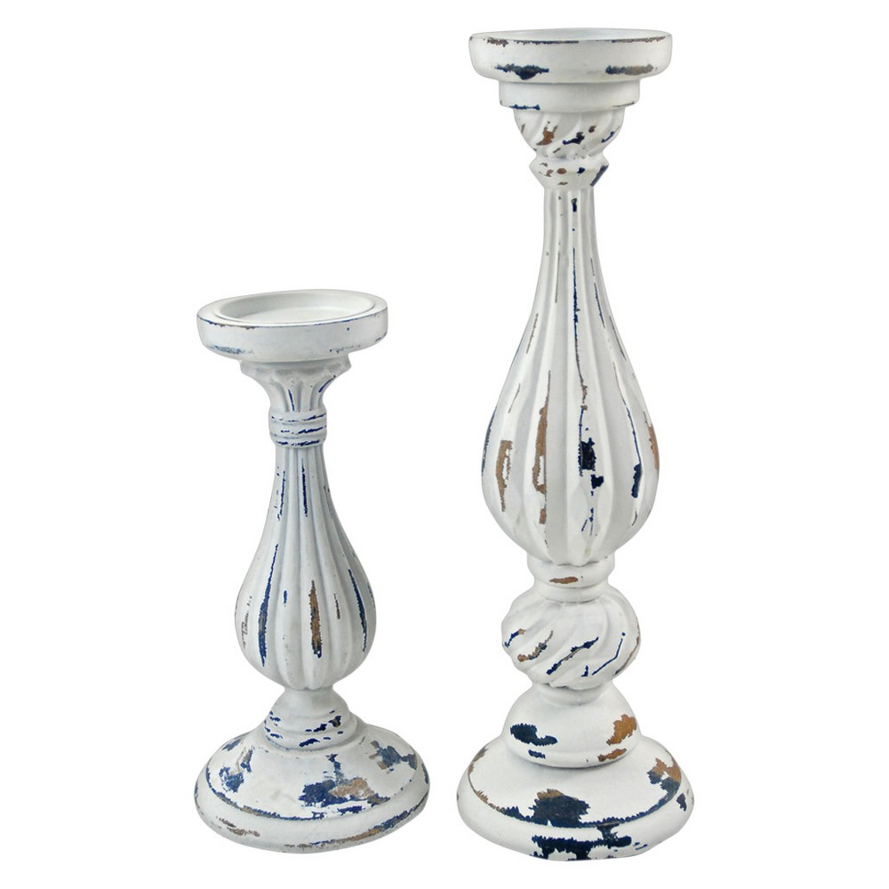 "Image of ""Distressed Candle Stick Set of 2 White 11""""/16.25"""" - Drew DeRose"""