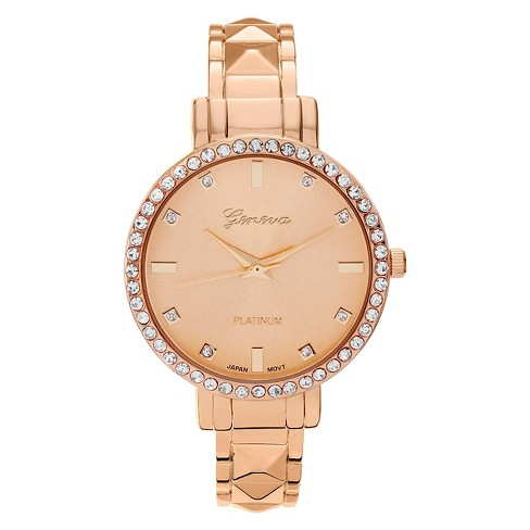 Women's Geneva Platinum Round Face Rhinestone Accent Adjustable Cuff Watch - Rose Gold - image 1 of 3