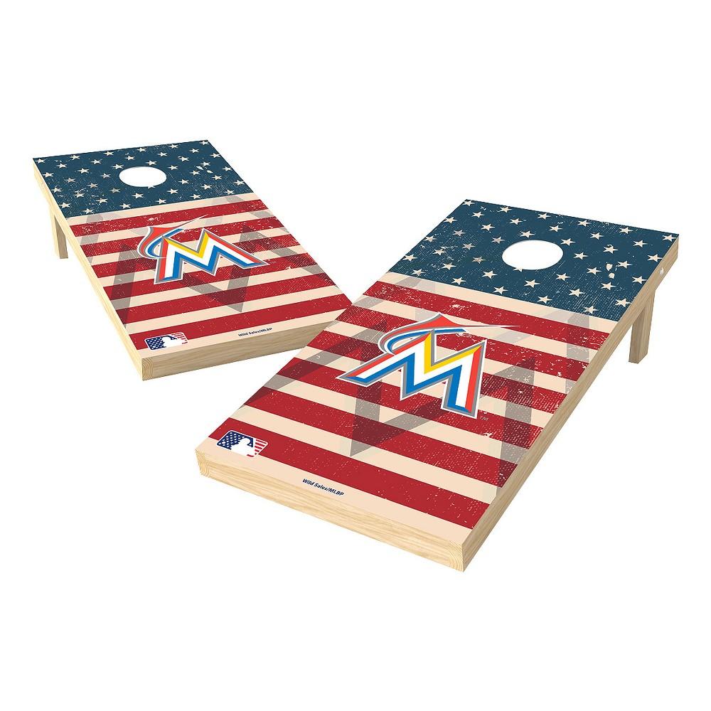 MLB Miami Marlins Wild Sports 2x4 Tailgate Toss Cornhole Shield - Stars and Stripes