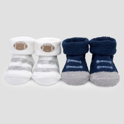 Baby Boys' 2pk Keepsake Booties - Just One You™ Made by Carter's® Navy/Gray NB
