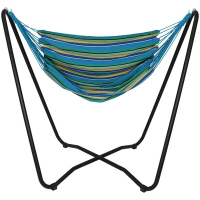 Hammock Chair Swing and Stand Set - Ocean Breeze - Sunnydaze Decor