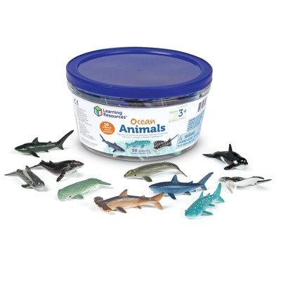 Learning Resources Ocean Animals, Counters, Imaginative Play, Set of 50 Different Ocean Animals, 50 Pieces, Ages 3+
