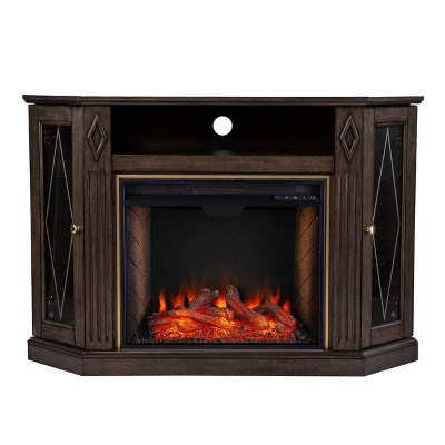 Stonstian Smart Fireplace with Media Storage Brown/Gold - Aiden Lane