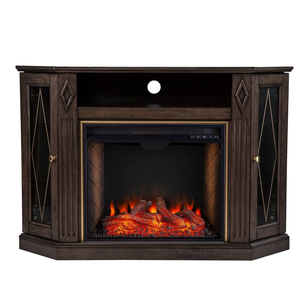 Stonstian Smart Fireplace With Media Storage Brown Gold Aiden Lane