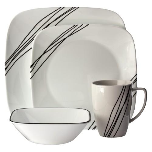 Corelle Square 16pc Dinnerware Set Simple Sketch, White