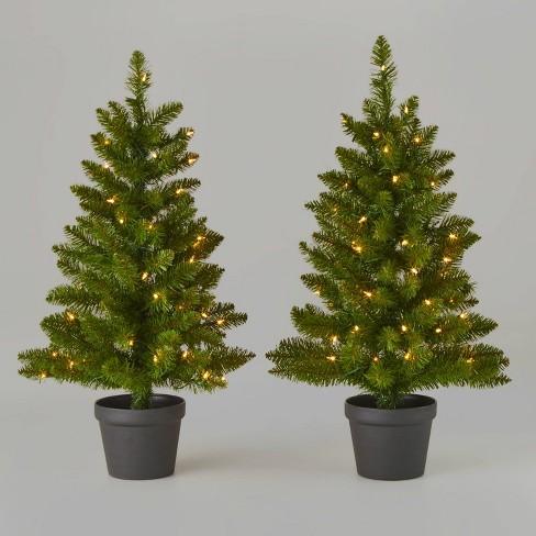 3ft/2pk Pre-Lit Alberta Spruce Potted Artificial Christmas Tree - Wondershop™ - image 1 of 2