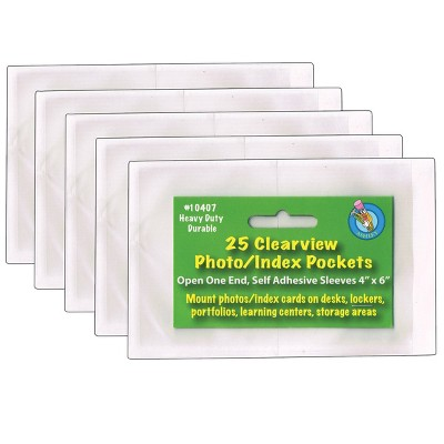 "5pk 4"" x 6"" 25/Pack Clear View Self-Adhesive Photo/Index Card Pockets - Ashley Productions"