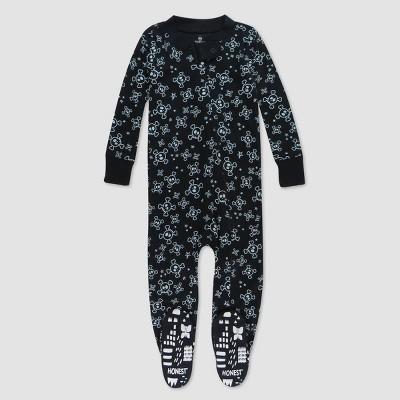 Honest Baby Halloween Skulls Organic Cotton Footed Pajama - Black
