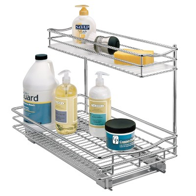Lynk Professional 11.5  x 21  Slide Out Under Sink Cabinet Organizer - Pull Out Two Tier Sliding Shelf