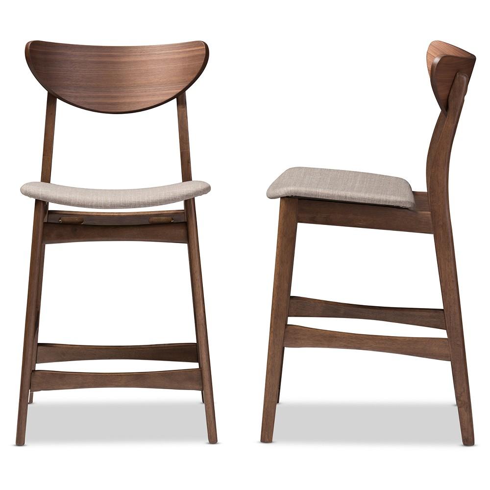 "Image of ""24"""" Latina Mid - Century Retro Modern Scandinavian Style Fabric Upholstered Wood Finishing Counter Stool - Light Gray - Baxton Studio"""