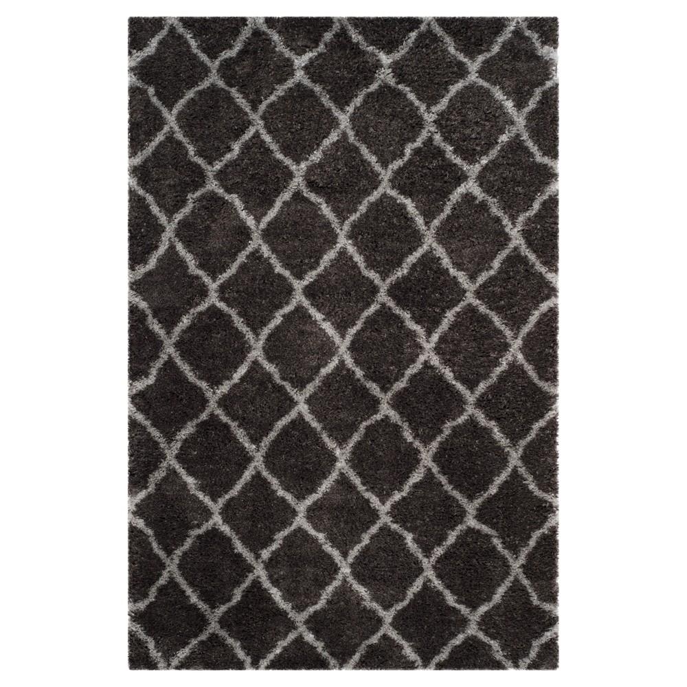 Dark Gray/Gray Solid Hooked Area Rug - (6'7