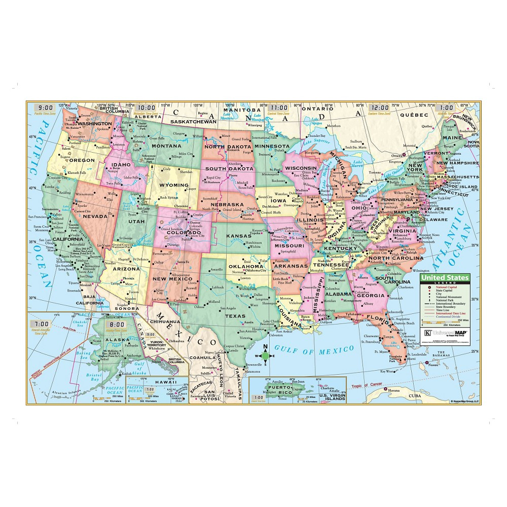 "Image of ""Kappa Map United States Wall Map 40"""" x 28"""""""