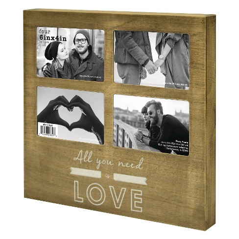 4 Opening Frame - All You Need Is Love Deep Box Collage - Holds 4-4x6 Photos - image 1 of 1