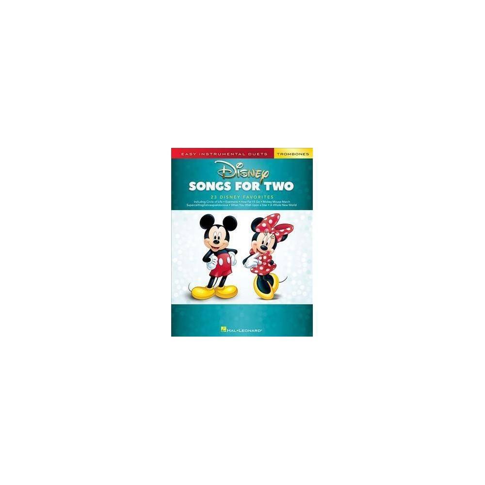 Disney Songs for Two Trombones : Easy Instrumental Duets - (Paperback)