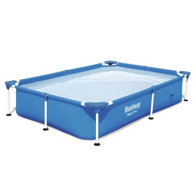 Bestway 56545E Steel Pro 7.25 x 4.9 x 1.4 Ft Outdoor Rectangular Frame Above Ground Family Kids Swimming Pool with Easy Setup, Blue