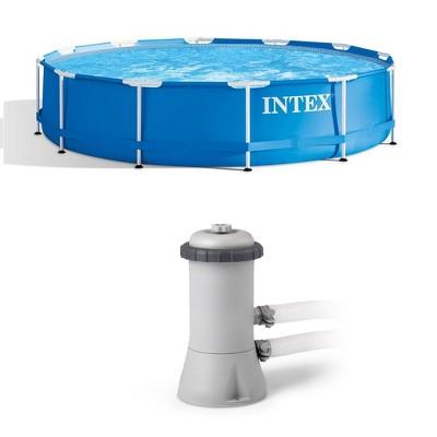 Intex  12Ft x 30In Swimming Pool & Intex 530 GPH Pool Cartridge Filter Pump
