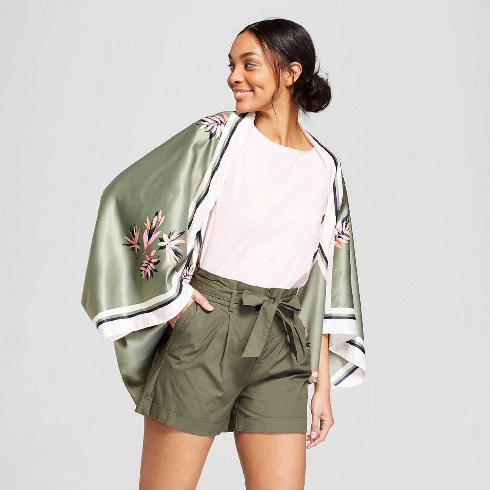 Women's Floral Print Cocoon Kimono Jackets - A New Day Green
