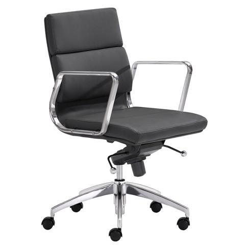 Modern Sleek Adjule Low Back Office Chair Black Zm Home