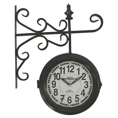 Double Sided Iron Wall Clock Black - Yosemite Home Decor