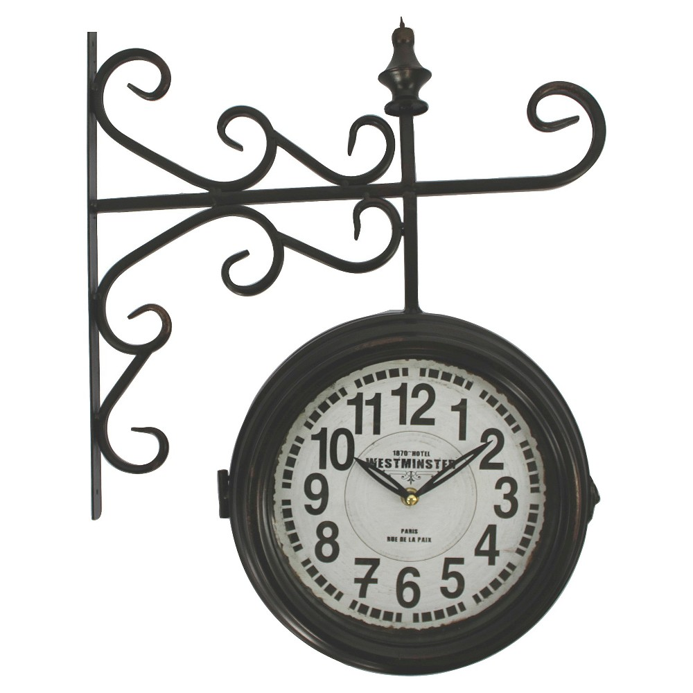 Image of Double Sided Iron Wall Clock Black - Yosemite Home Decor