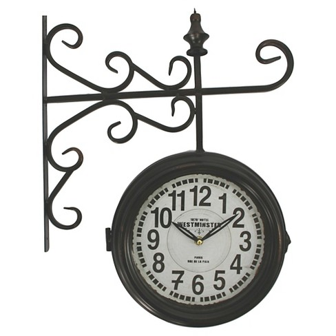 Double Sided Iron Wall Clock Black - Yosemite Home Decor® - image 1 of 1