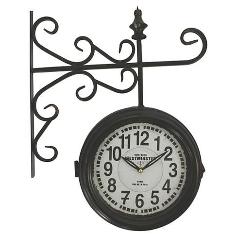 Double Sided Iron Wall Clock Black Yosemite Home Decor