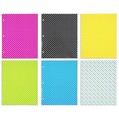 JAM Paper Glossy 3-Hole Punched 2-Pocket School Folders Assorted Polka Dot 31237926