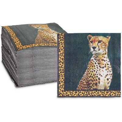 Sparkle and Bash 150 Pack Cheetah Animal Luncheon Disposable Napkin Napkins for Jungle Safari Birthday Party Supplies