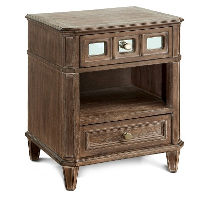 Kayleigh Transitional Mirror Accent Nightstand Rustic Oak - HOMES: Inside + Out