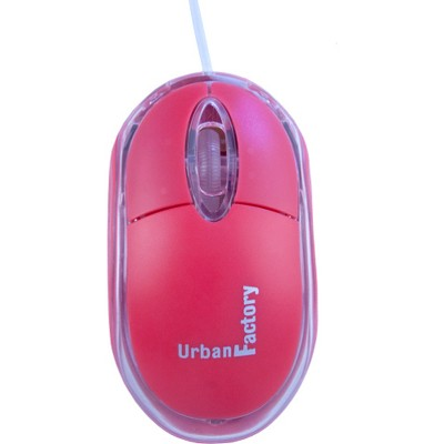 Urban Factory Krystal Mouse - Optical - Cable - Red - USB 2.0 - 800 dpi - Scroll Wheel - 3 Button(s)