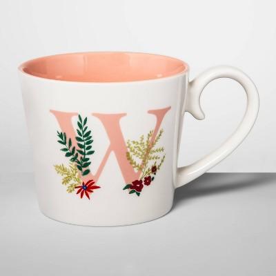 16oz Stoneware Monogram Mug Cream W - Opalhouse™