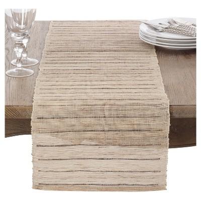 "Light Brown Nubby Texture Stripe Design Table Runner (14""x72"") - Saro Lifestyle"