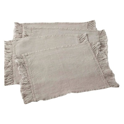 Ruffled Design Placemats Natural (Set of 4)