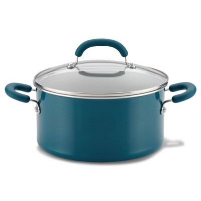 Rachael Ray Create Delicious 6qt Aluminum Nonstick Stock Pot with Lid  Teal