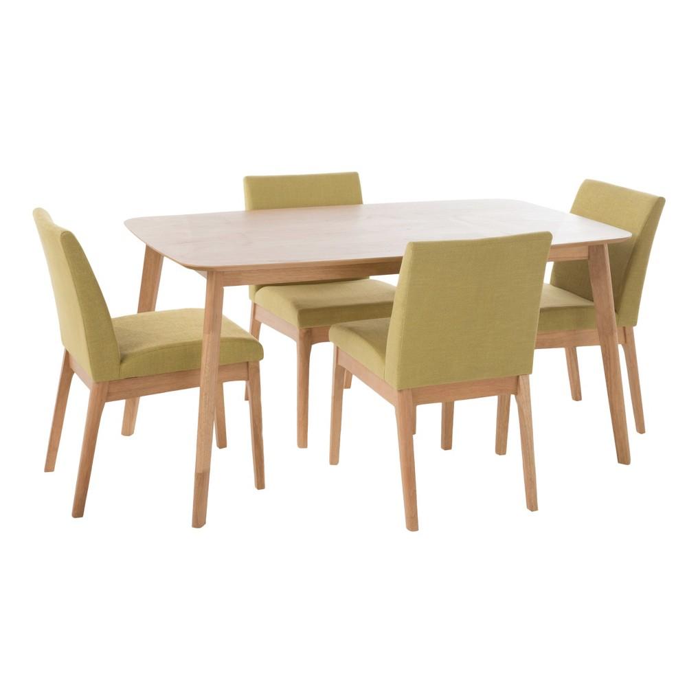Kwame 60 5 - Piece Dining Set - Natural Oak/Green Tea - Christopher Knight Home