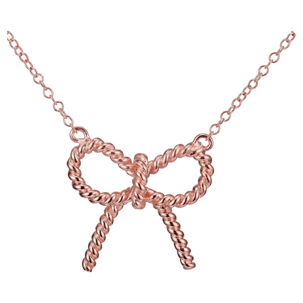 "Image of ""14k Rose Gold Plated Sterling Silver Bow Necklace, 18"""", Women's, Size: Small, Pink"""