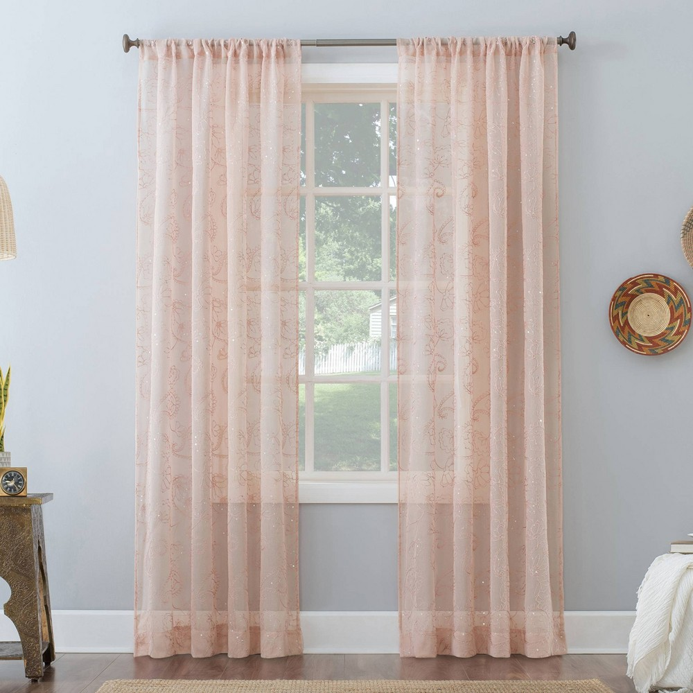 84 34 X50 34 Delilah Embroidered Floral Semi Sheer Rod Pocket Curtain Panel Pink No 918