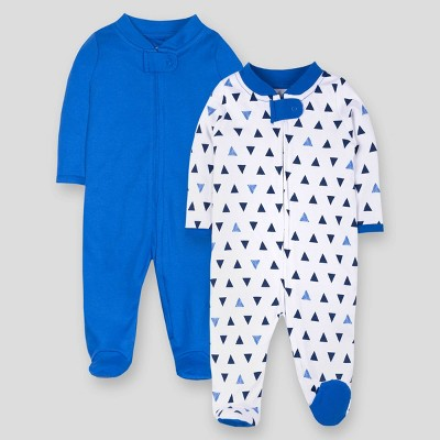 Lamaze Baby Boys' 2pk Solid and Geo Print Sleep 'N Play - Blue