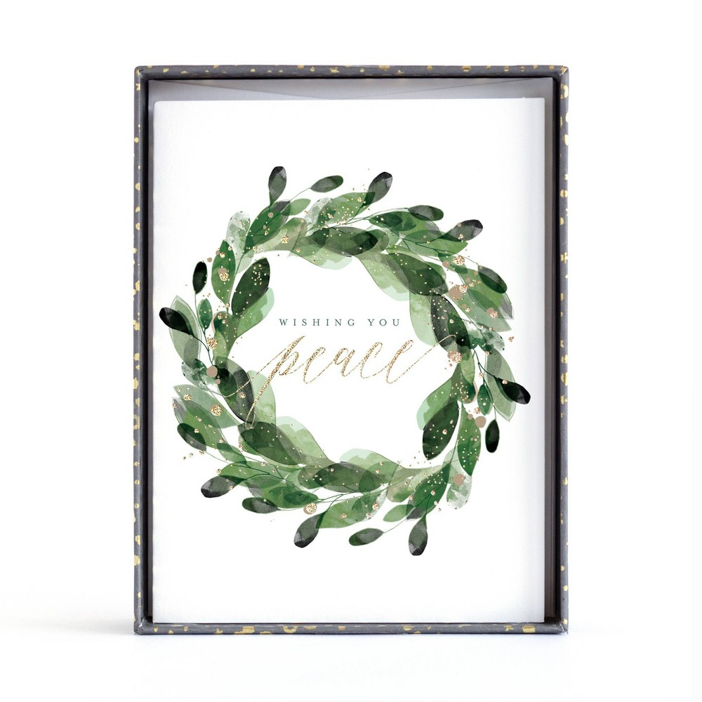Image of 10ct Minted Foil Peace Wreath Boxed Greeting Cards