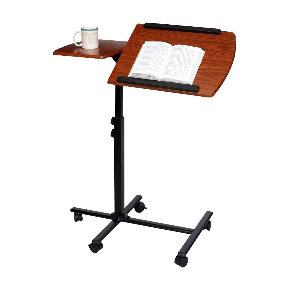 Image of OneSpace 50-JN01 Angle and Height Adjustable Mobile Laptop Computer Desk, Dual Surface, Brown
