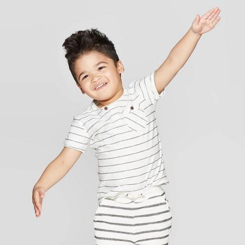 Toddler Boys' Striped Henley T-Shirt - art class™ Cream - image 1 of 3